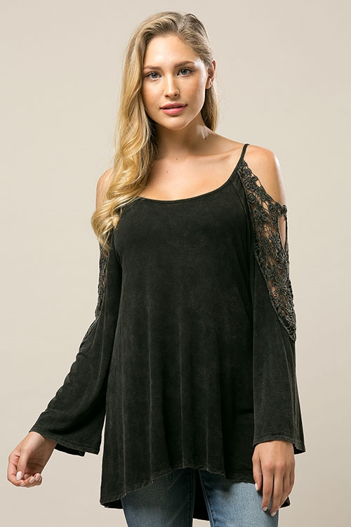 Wash Dye Off the Shoulder Lace - orangeshine.com