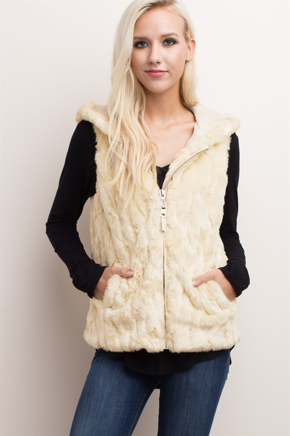 HOODED ZIPPER FAUX FUR VEST - orangeshine.com