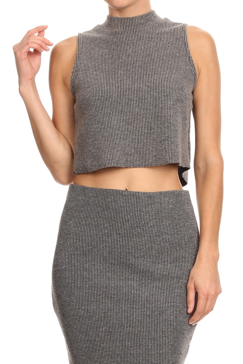 RIB KNIT CROPPED TANK - orangeshine.com