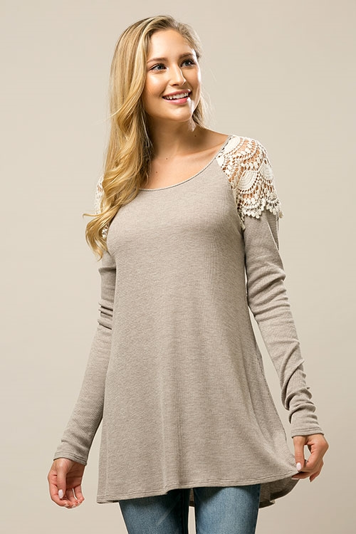 Thermal Lace Inset Tunic - orangeshine.com