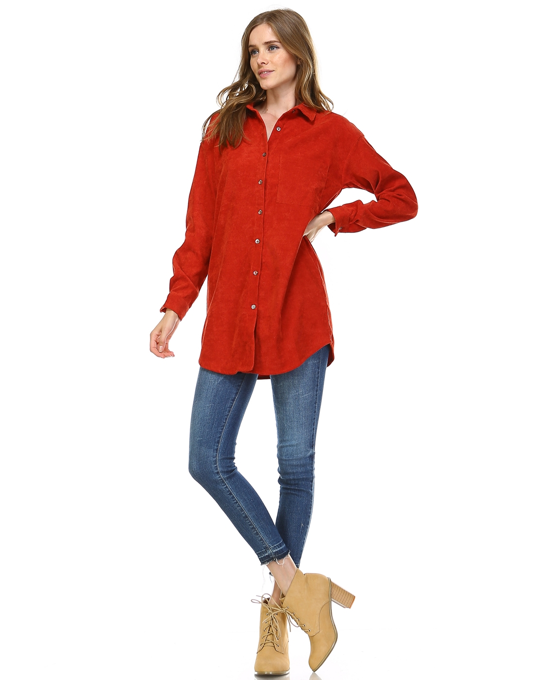 CORDUROY SHIRT DRESS - orangeshine.com