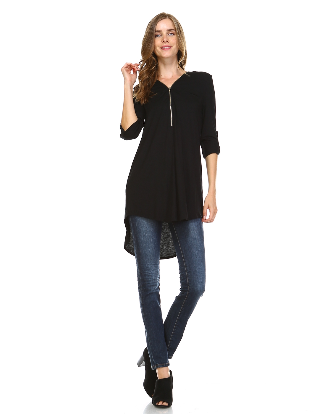 FRONT ZIPPER HI-LOW TUNIC - orangeshine.com
