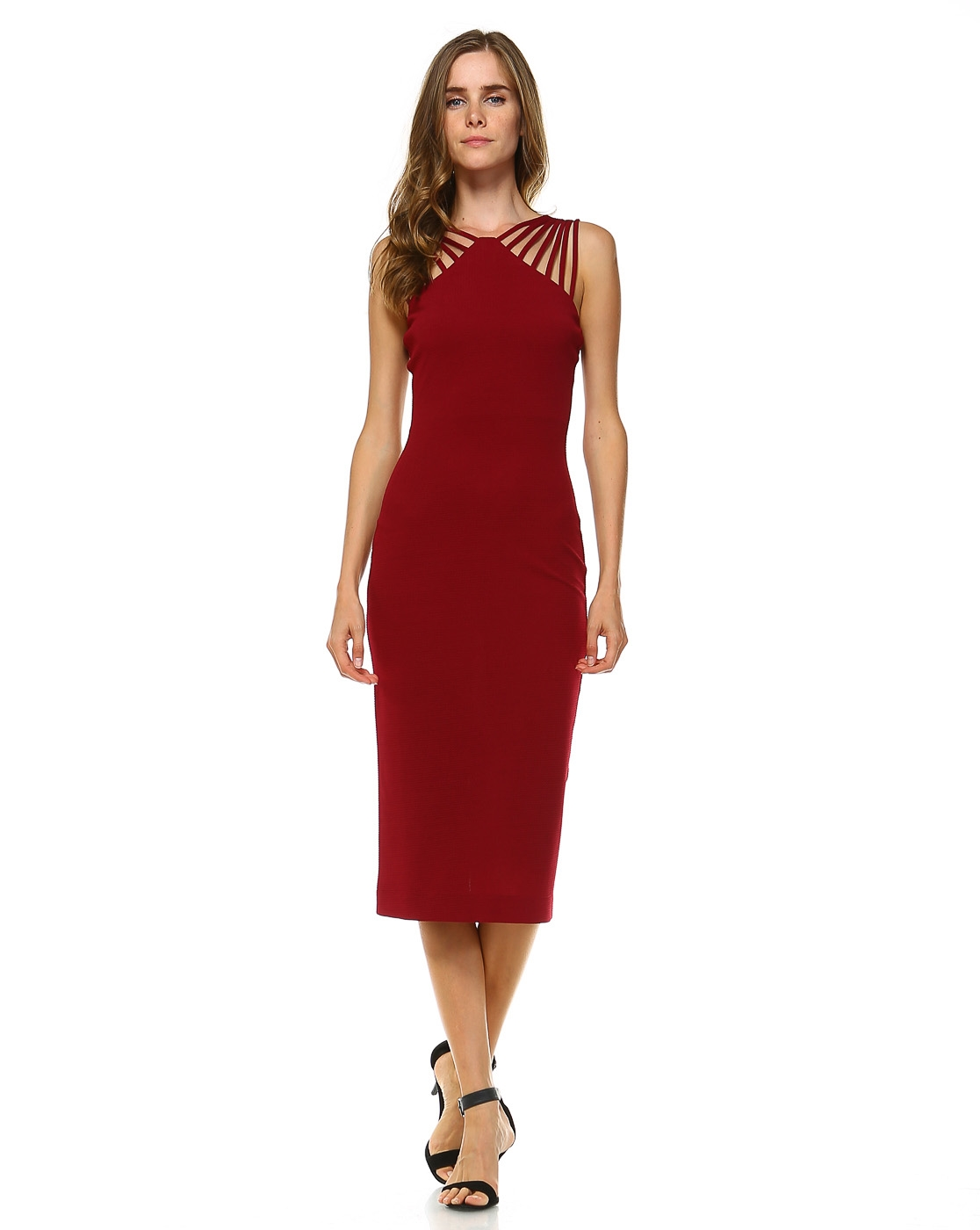 SOLID DRESS WITH BACK ZIPPER - orangeshine.com