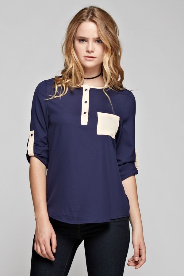 Two Tone Blouse - orangeshine.com