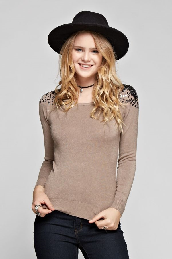 Sequin Shoulder Sweater - orangeshine.com