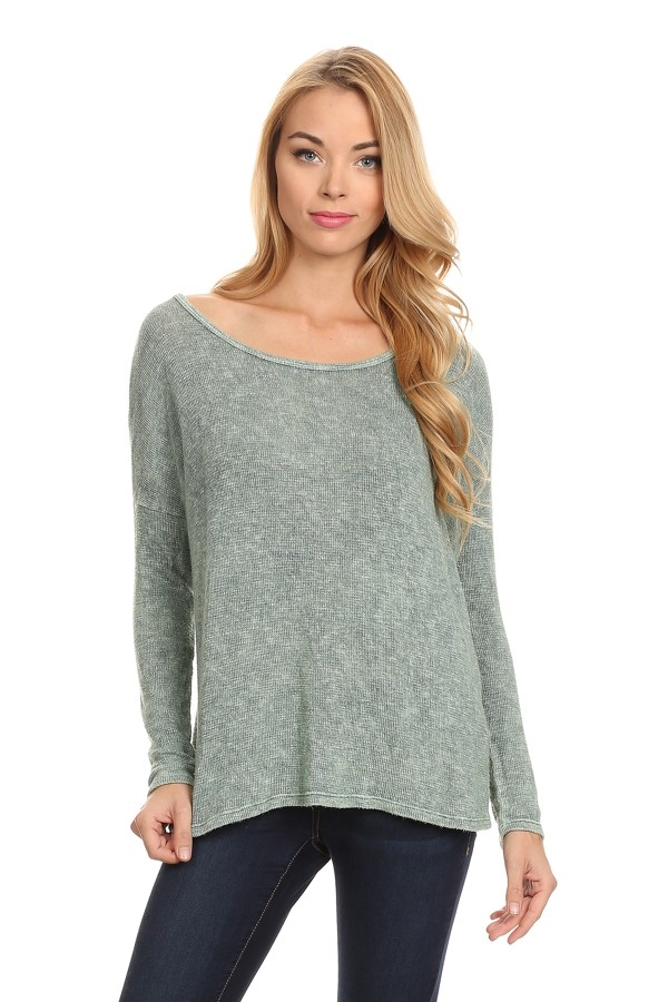 SCOOP NECK LONG SLEEVE SWEATER - orangeshine.com