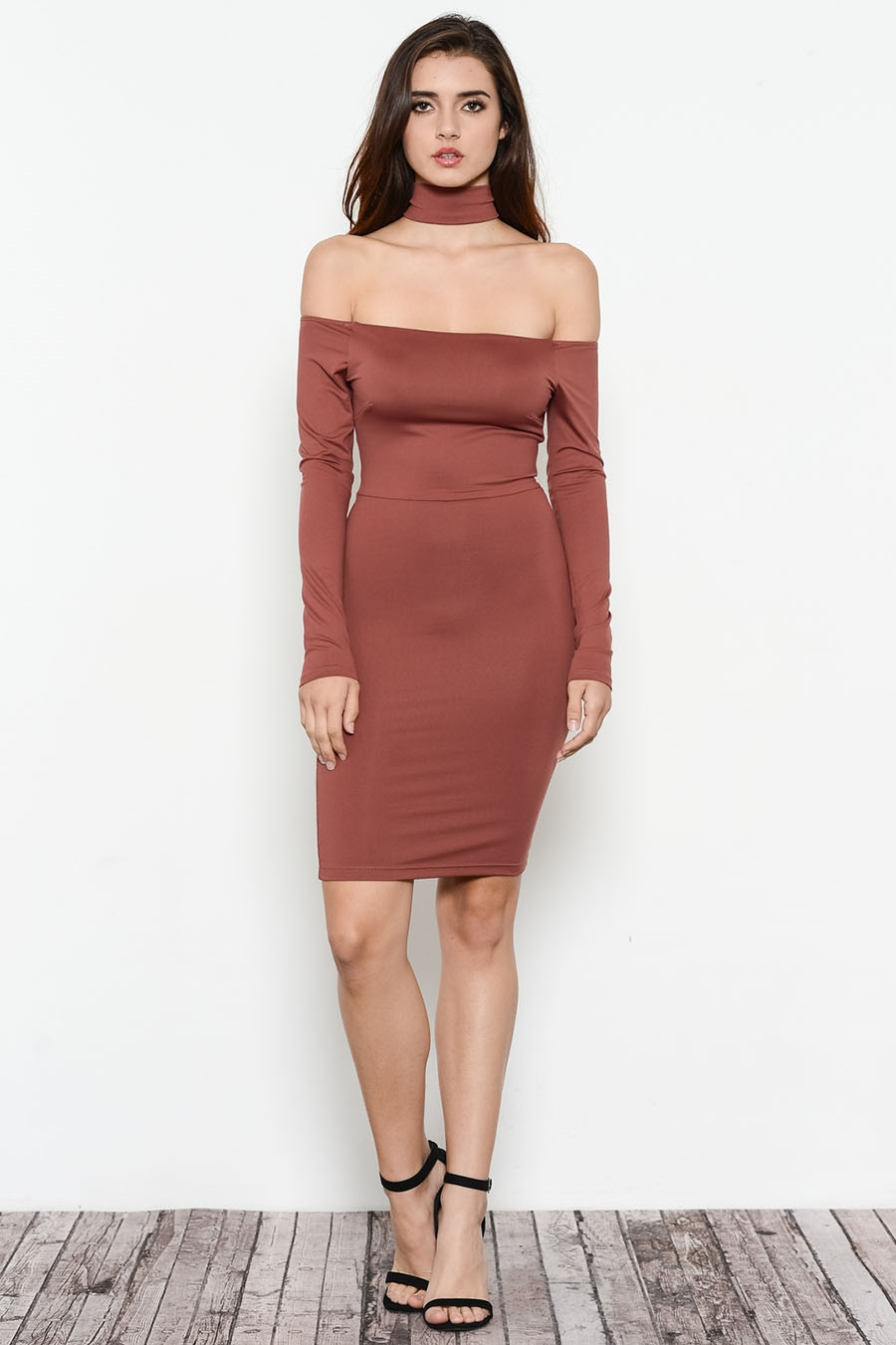 OFF SHOULDER JERSEY DRESS - orangeshine.com