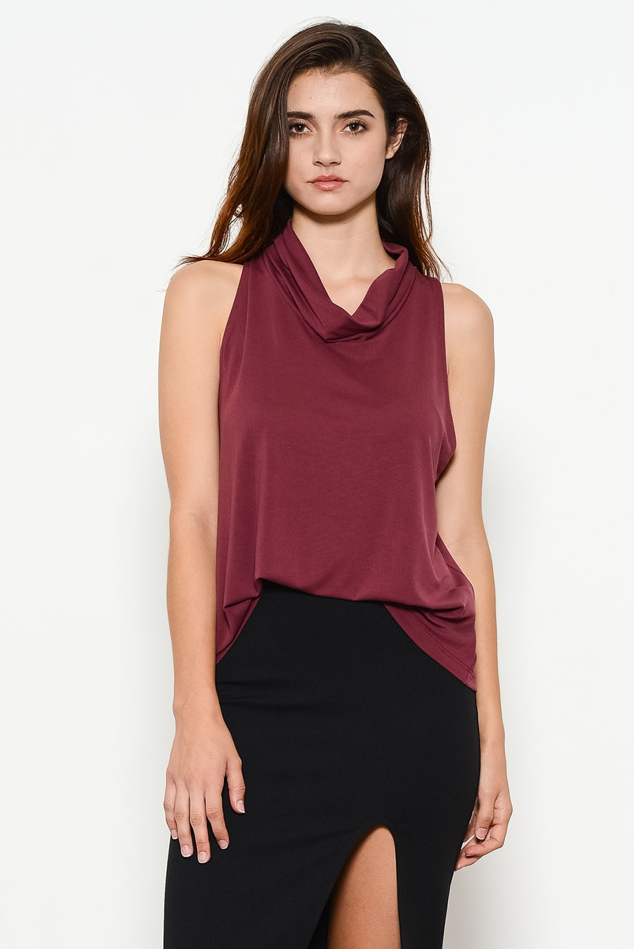 JERSEY MOCK NECK CUTOUT BACK - orangeshine.com