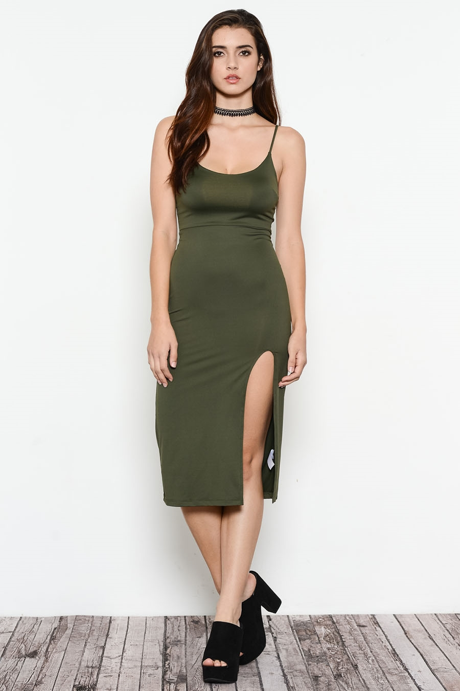 JERSEY SIDE SLIT MIDI DRESS - orangeshine.com