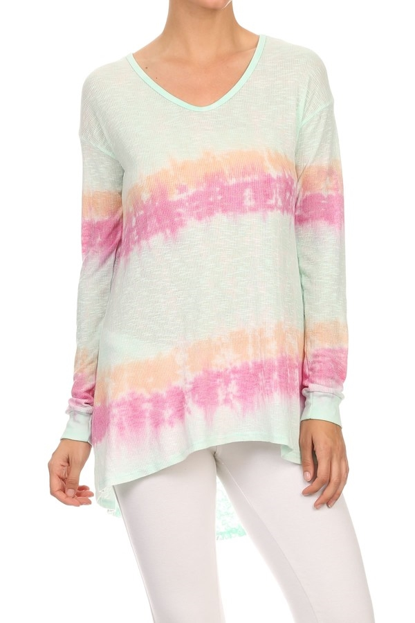 TIE DYE LACE LONG SLEEVE TOP - orangeshine.com
