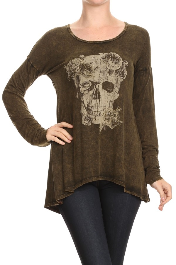 FLOWER SKULL MINER WASH TOP - orangeshine.com