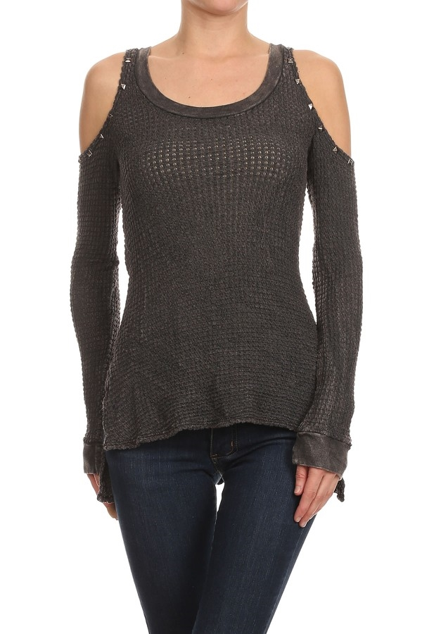 COLD SHOULDER STUDDED KNIT TOP - orangeshine.com