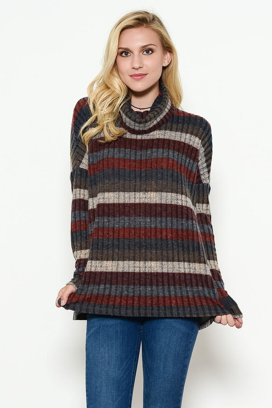 RIB STRIPE MOCK NECK TOP - orangeshine.com