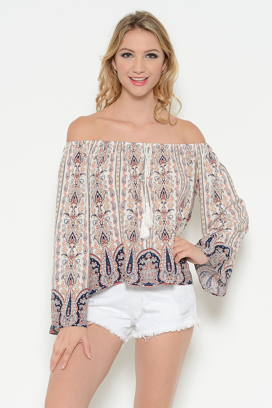 OFF SHOULDER PRINT TOP - orangeshine.com