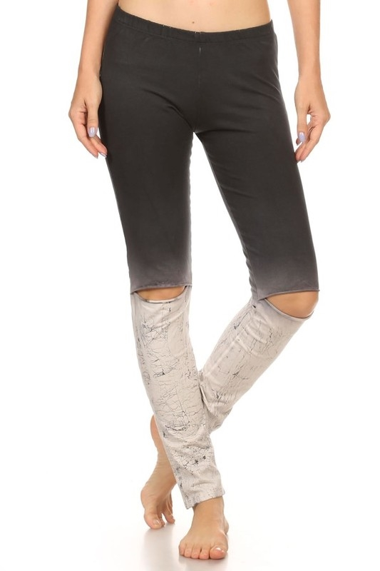 CRACKED OMBRE SLIT KNEE LEGGIN - orangeshine.com