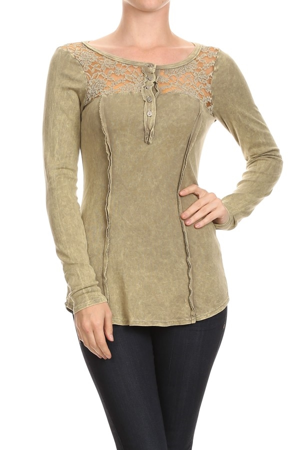 LACE BUTTON LONG SLEEVE TOP - orangeshine.com