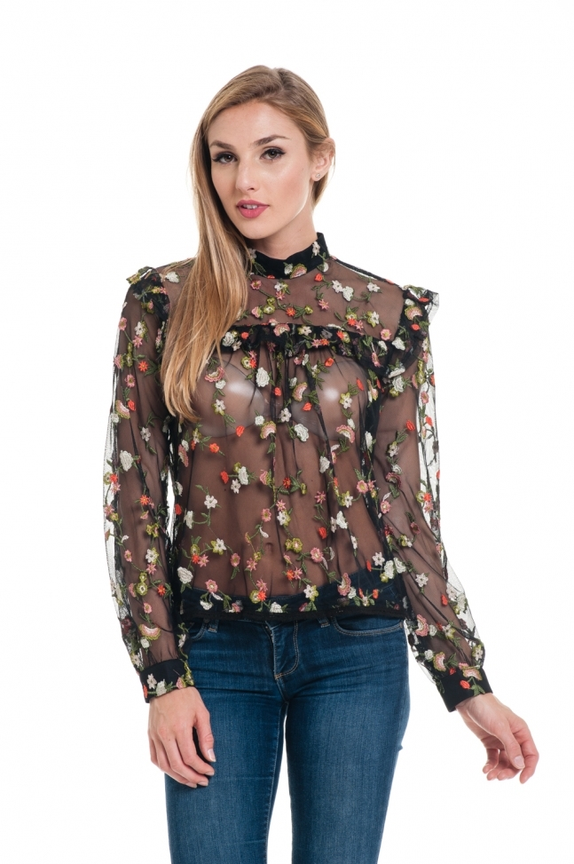 Valentinoesque Embroidery Blouse - orangeshine.com