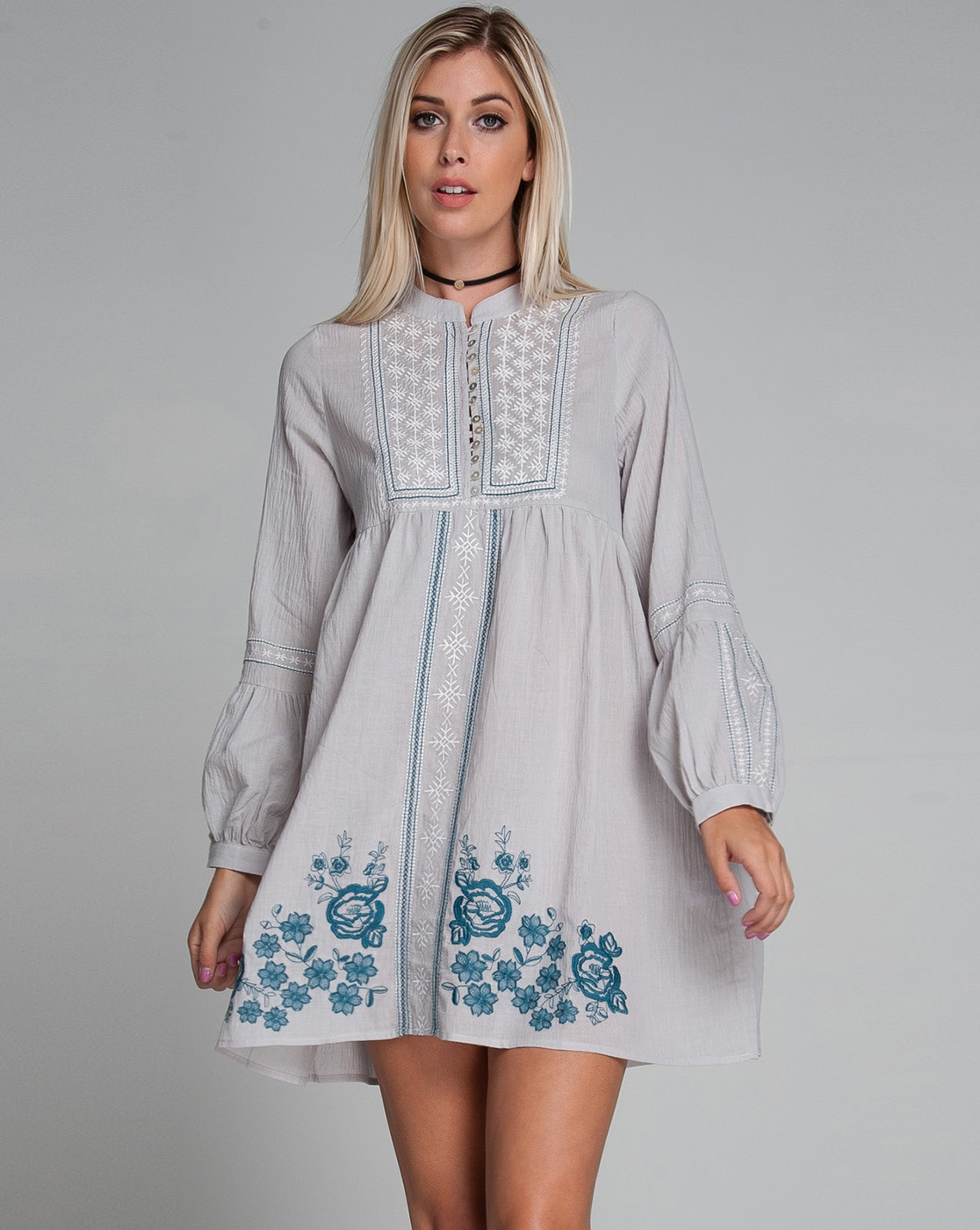 EMBROIDERED TUNIC SHIRT DRESS - orangeshine.com