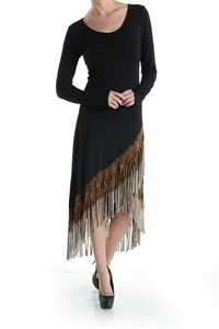 FRINGED HIGH LOW DRESS - orangeshine.com