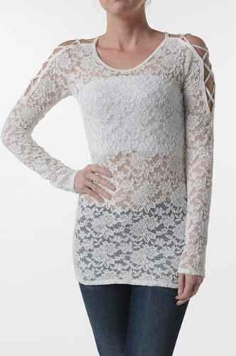 CUT OUT SHOULDER LACE TOP - orangeshine.com