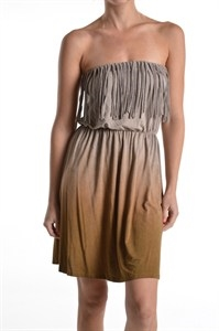 OMBRE FRINGE MINI DRESS - orangeshine.com