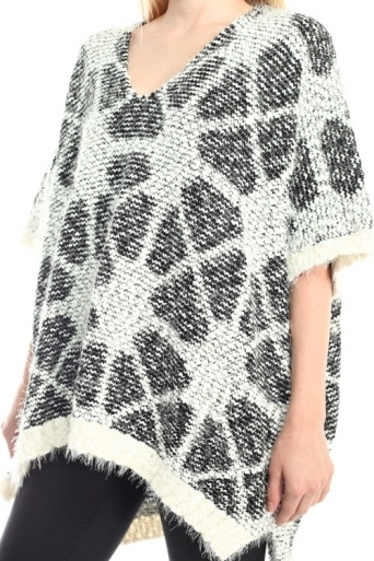Long fuzzy Poncho - orangeshine.com