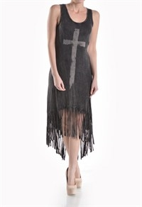 HIGH LOW FRINGED DRESS - orangeshine.com