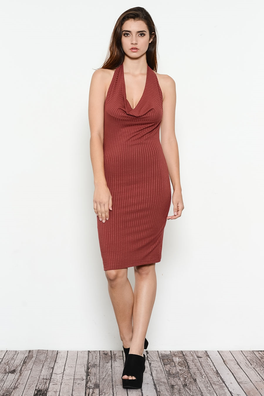 RIB HIGH NECK OPEN BACK DRESS - orangeshine.com