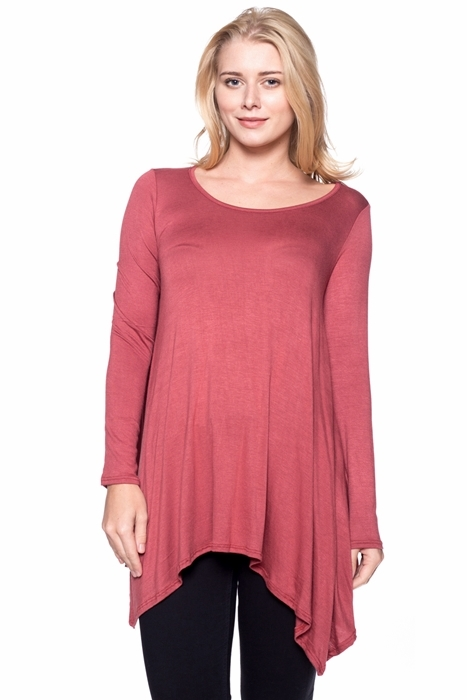 Boat Neck Asymmetrical Tunic - orangeshine.com