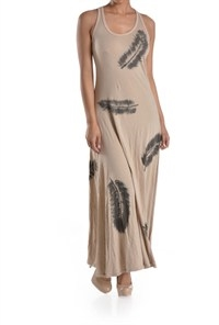 FEATHER ALL OVER MAXI DRESS - orangeshine.com