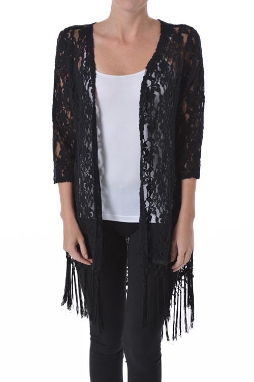 FRINGED TRIM LACE S/S CARDIGAN - orangeshine.com
