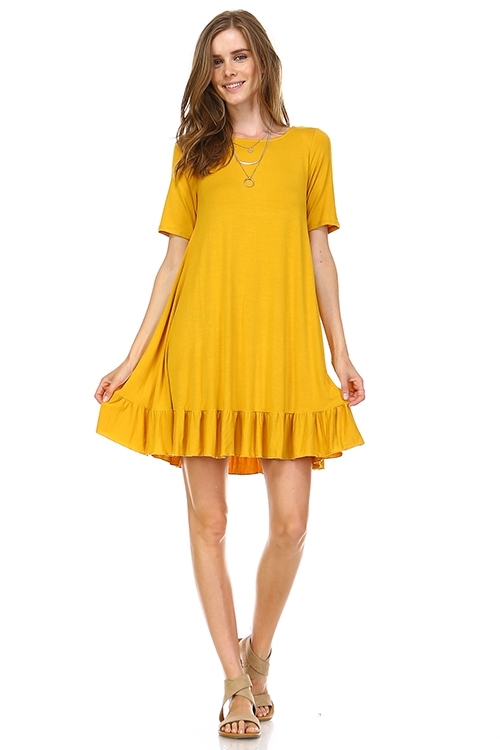 BAMBOO SOLID RUFFLE DRESS - orangeshine.com