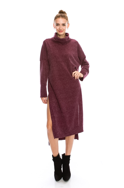 TURTLE NECK SWEATER DRESS - orangeshine.com