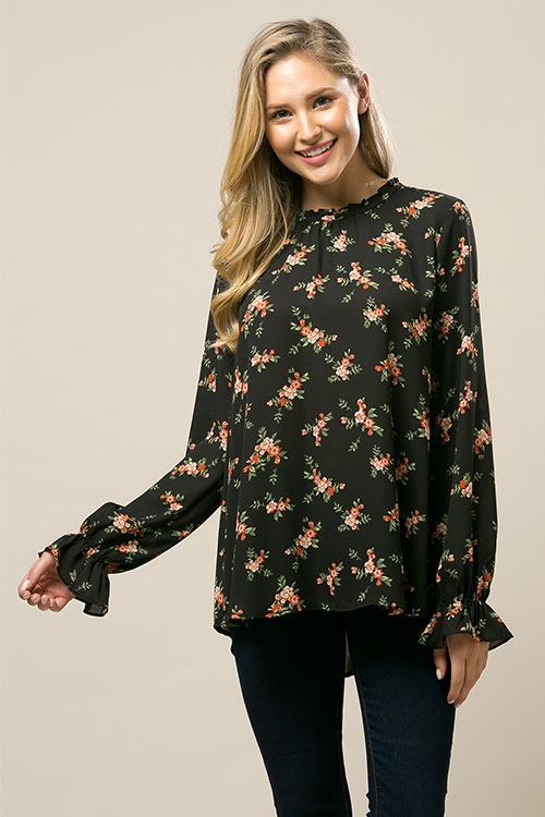 Floral Multi Long Slv Blouse - orangeshine.com
