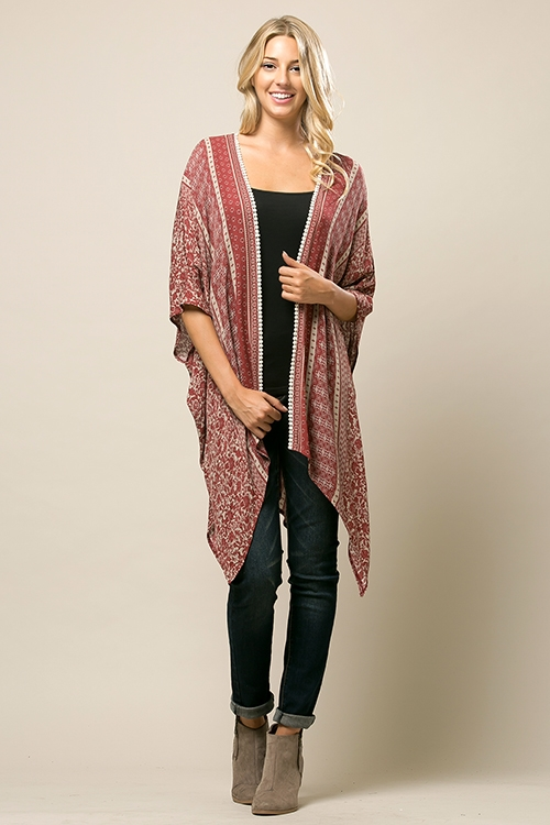 Printed Lace Cardigan - orangeshine.com