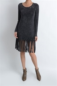 EYELET AND FRINGE TUNIC TOP - orangeshine.com