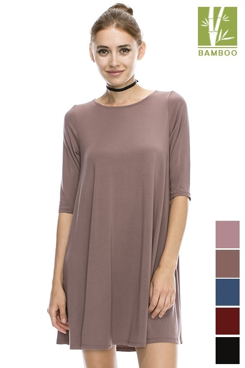 Bamboo 1/2 Sleeve DRESS - orangeshine.com