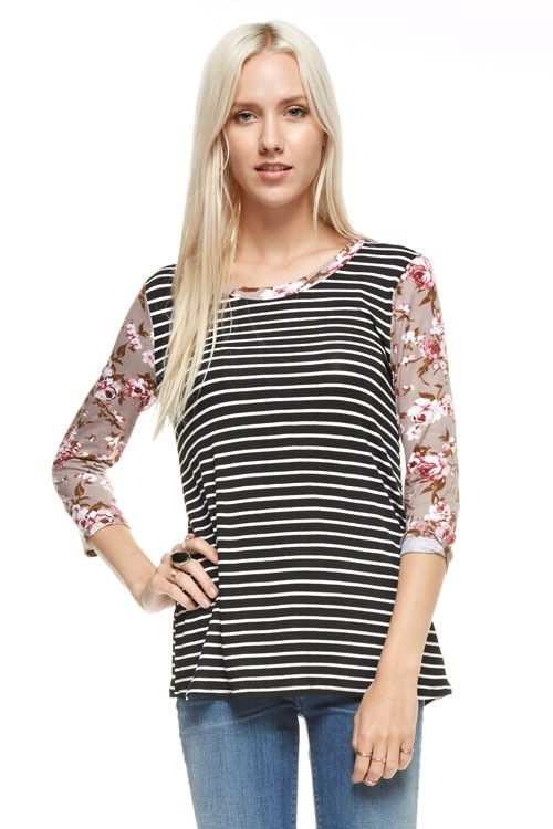 Floral sleeves stripe top - orangeshine.com