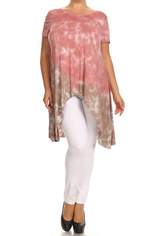 TIE DYE SLIT BACK S/S TOP - orangeshine.com