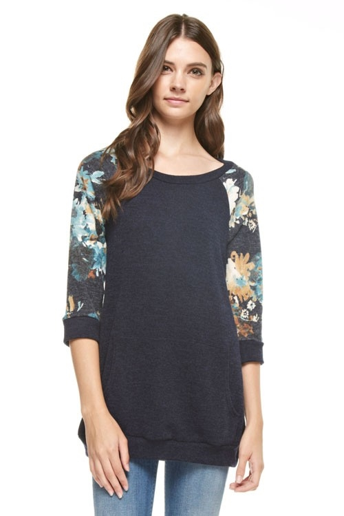 Floral 3/4 sleeves solid top - orangeshine.com