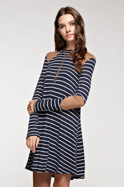 Striped suede point dress - orangeshine.com