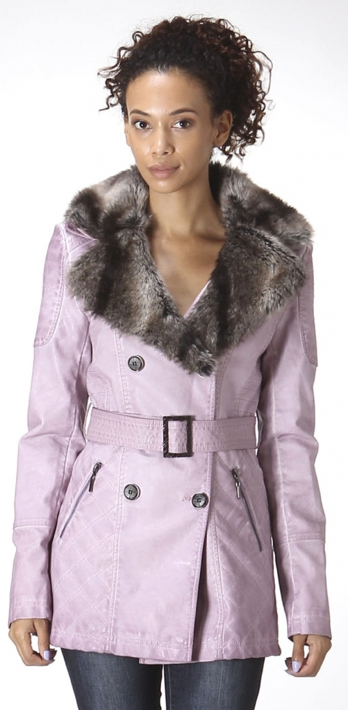 Womens PU Jacket w/ detachable collar fu - orangeshine.com