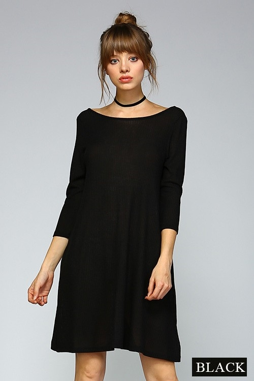 SOLID RIB 1/2 SLEEVE DRESS - orangeshine.com