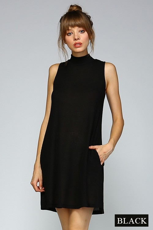 MOCK NECK SLEEVELESS DRESS - orangeshine.com