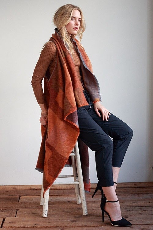 COLORBLOCK PATTERN THICK SHAWL - orangeshine.com