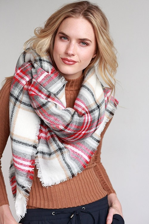 PLAID OVERSIZED SQUARE SCARF - orangeshine.com