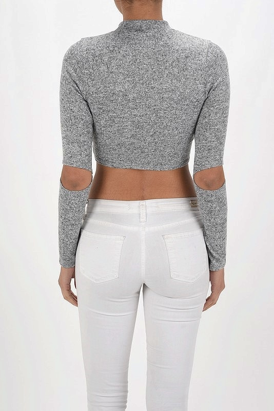 ELBOW SLIT MOCK NECK CROP TOP - orangeshine.com