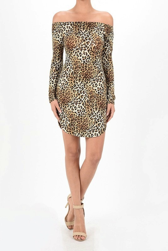 LEOPARD OFF SHOULDER DRESS TOP - orangeshine.com