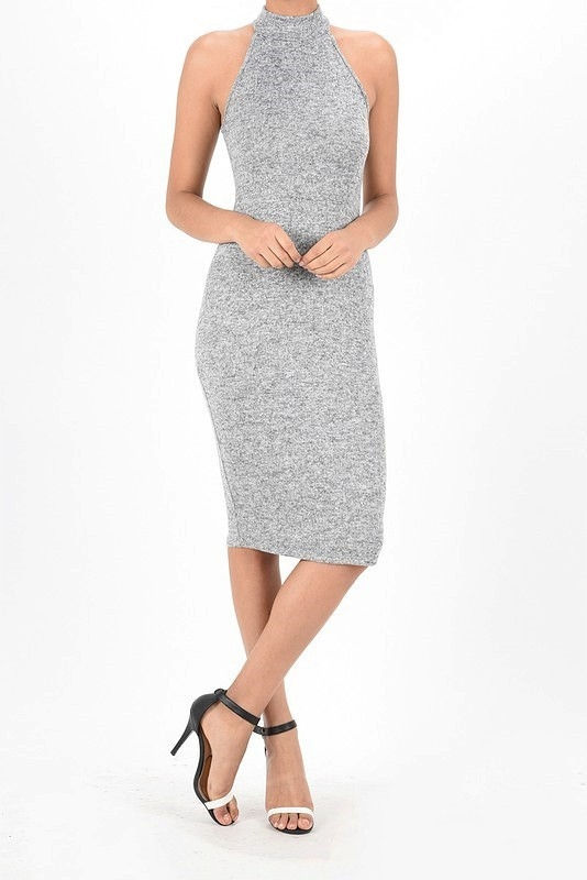 MOCK NECK MIDI BODYCON DRESS T - orangeshine.com