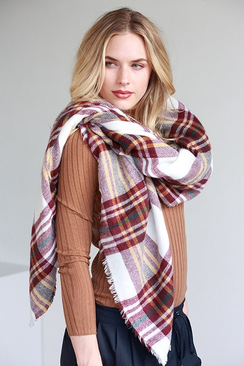 PLAID PATTERN BLANKET SCARF - orangeshine.com